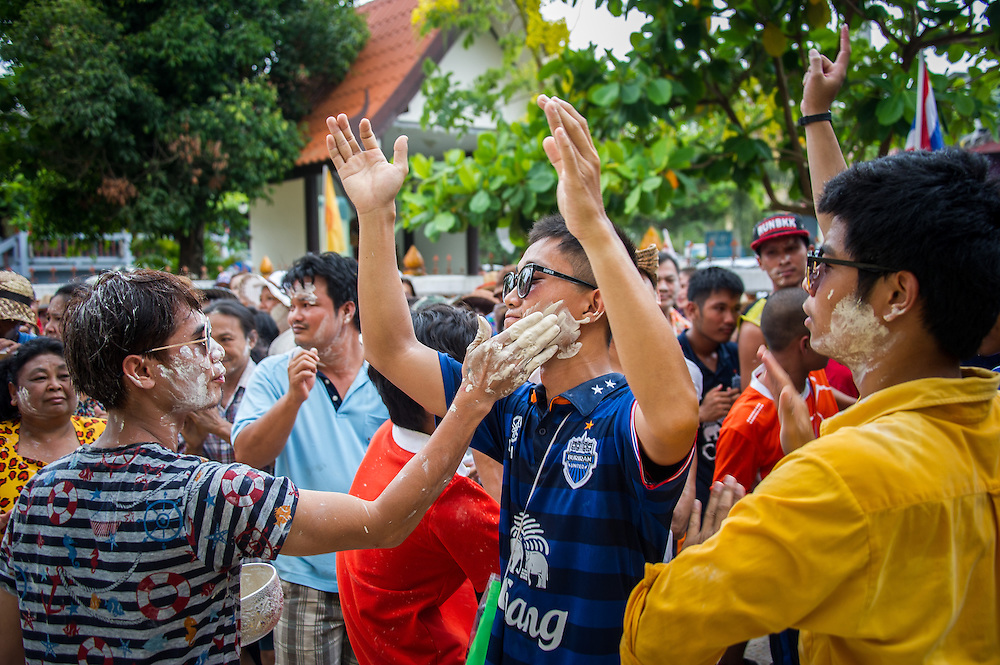 Songkran Water Festival at the Temple in Rural Nakhon Nayok, Thailand.