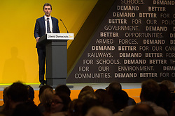 Bournemouth, UK. 15 September, 2019. Tom Brake, Liberal Democrat MP for Carshalton and Wallington, moves the Stop Brexit motion during the Liberal Democrat Autumn Conference. Following a vote won by an overwhelming majority, the Liberal Democrats pledged to cancel Brexit if they win power at the next general election. This marks a shift in policy from their previous backing for a People's Vote. Credit: Mark Kerrison/Alamy Live News