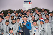 Eddie Pepperell of England with his trophy and the marshalls after winning the British Masters 2018 at Walton Heath Golf Course, Walton On the Hill, Surrey on 14 October 2018. Picture by Martin Cole.