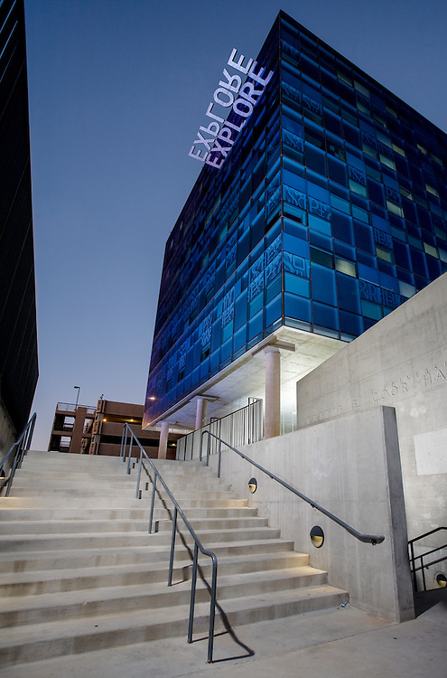 A photograph of Coor Hall at night, Arizona State University, Tempe, Arizona
