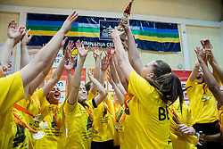 Rebeka Abramovic and other players of Athlete Celje celebrate after winning the basketball game between ZKK Athlete Celje and ZKK Triglav Kranj in Final of Slovenian Women National Championship 2014, on April 16, 2014 in Celje, Slovenia. Athlete Celje won 3-0 and became Slovenian Women Basketball Champion 2014. Photo by Vid Ponikvar / Sportida