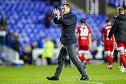 Fulham manager Scott Parker thanks the travelling supporters at full time during the EFL Sky Bet Championship match between Reading and Fulham at the Madejski Stadium, Reading, England on 1 October 2019.