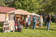 Doris Harvest Fiber Art Creations booth at the Thousand Springs Art Festival at Ritter Island near Hagerman, Idaho. MR