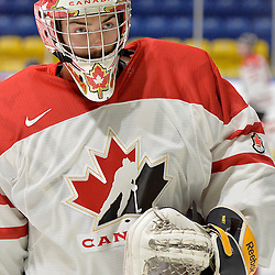 WHITBY, - Dec 18, 2015 -  Game #12 - Bronze Medal Game, Team Canada East vs. United States at the 2015 World Junior A Challenge at the Iroquois Park Recreation Complex, ON. Colton Point #1 of Team Canada East during the pre-game warm-up.<br /> (Photo: Shawn Muir / OJHL Images)