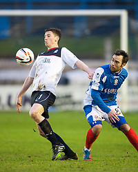 Falkirk's Conor McGrandles and Cowdenbeath's Jamie Stevenson.<br /> Cowdenbeath 0 v 2 Falkirk, Scottish Championship game today at Central Park, the home ground of Cowdenbeath Football Club.<br /> &copy; Michael Schofield.