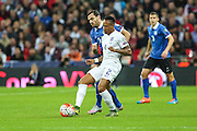 England's Nathaniel Clyne on the ball during the UEFA European 2016 Qualifier match between England and Estonia at Wembley Stadium, London, England on 9 October 2015. Photo by Shane Healey.