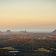 Sunset over Glasshouse Mountains in the Sunshine Coast hinterland