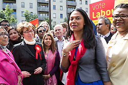 © Licensed to London News Pictures. 06/06/2015. London, UK. Rushanara Ali at a Labour Party rally for Tower Hamlets Mayoral candidate, John Biggs in Altab Ali Park in Tower Hamlets, east London. The three women Bangladeshi London Labour MPs (Rushanara Ali, Tulip Siddiq and Rupa Huq) attended the rally today with Labour Party supporters. Photo credit : Vickie Flores/LNP