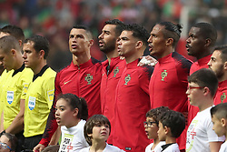June 7, 2018 - Lisbon, Portugal - Portugal's forward Cristiano Ronaldo and his teammates sings the national anthem during the FIFA World Cup Russia 2018 preparation football match Portugal vs Algeria, at the Luz stadium in Lisbon, Portugal, on June 7, 2018. (Portugal won 3-0) (Credit Image: © Pedro Fiuza/NurPhoto via ZUMA Press)