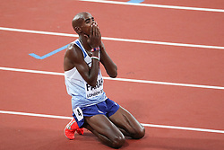 London, August 12 2017 . Mo Farah, Great Britain, rests after claiming silver in the men's 5000m final on day nine of the IAAF London 2017 world Championships at the London Stadium. © Paul Davey.
