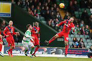York City midfielder Russell Penn  wins the header during the Sky Bet League 2 match between Yeovil Town and York City at Huish Park, Yeovil, England on 2 January 2016. Photo by Simon Davies.