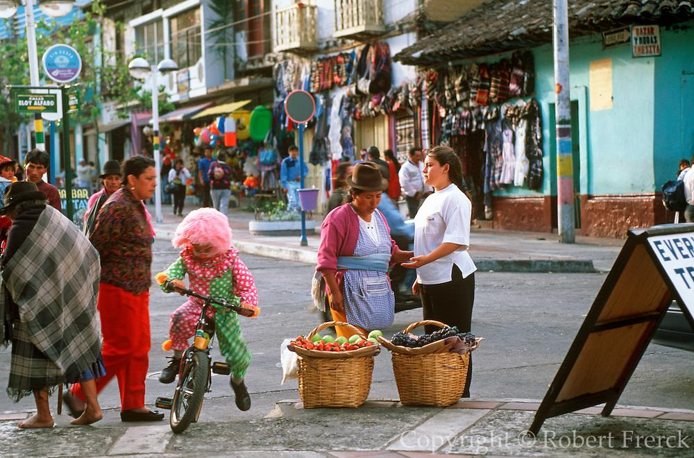 ECUADOR, HIGHLANDS, BANOS hot springs resort and street vendors