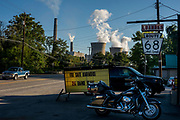 The cooling towers of the Bruce Mansfield coal-fired power plant in Shippingport, PA can be seen from the town of Industry, PA, just across the Ohio River. The plant, owned by FirstEnergy Generation LLC, must close the biggest coal ash disposal site in the nation, Little Blue Run in Beaver County, by the end of 2016 and is looking for places to dump the 2.5 million tons of ash produced each year by the Bruce Mansfield plant.