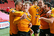 Hull City forward Keane Lewis-Potter (31 ) celebrates with teammate Hull City forward Jarrod Bowen (20) after scoring a goal (2-2) during the EFL Sky Bet Championship match between Charlton Athletic and Hull City at The Valley, London, England on 13 December 2019.