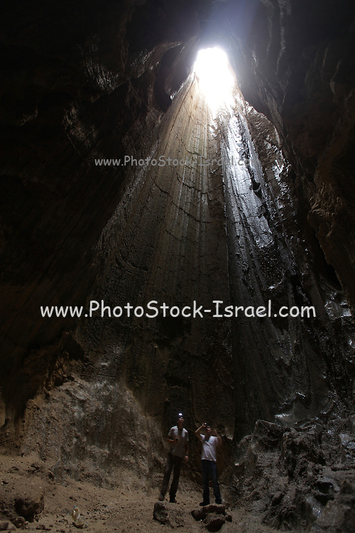 Salt cave in Mt. Sodom. Mount Sodom is a hill along the southwestern part of the Dead Sea in Israel, it is made almost entirely of halite, or rock salt.
