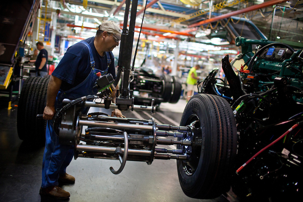 Volvo Trucks USA - May 2, 2013 - In Central Virginia a 1.6-million-square-foot facility, called the New River Valley Plant, located in Dublin, Virginia, is the largest Volvo truck manufacturing facility in the world. Some 2,100 employees produce over 100 unique trucks a day on average. <br /> Photo by Justin Ide