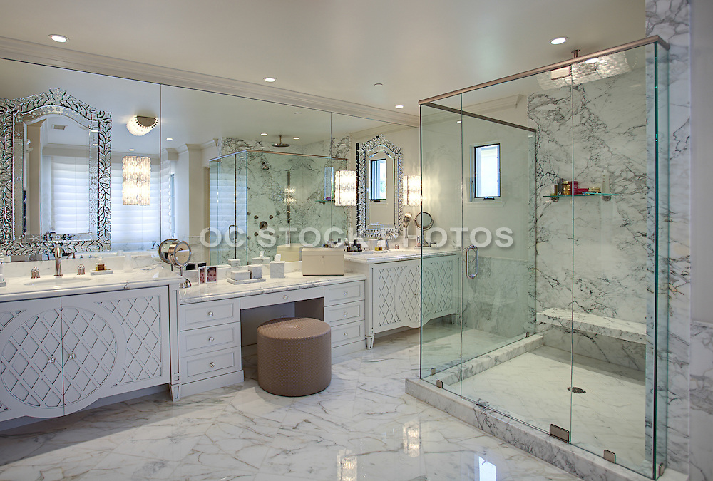 Master Bathroom Vanity with Makeup Sitting Area