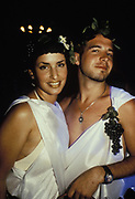 Couple dressed up in Togas. Ibiza 1999.