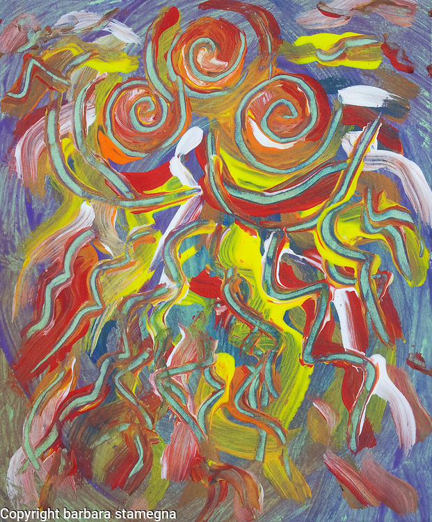Fire vortex like abstract image with swirling shapes and flame like fluid spots of color in tones of orange, red, yellow, violet, light brown and white colors, with shades.