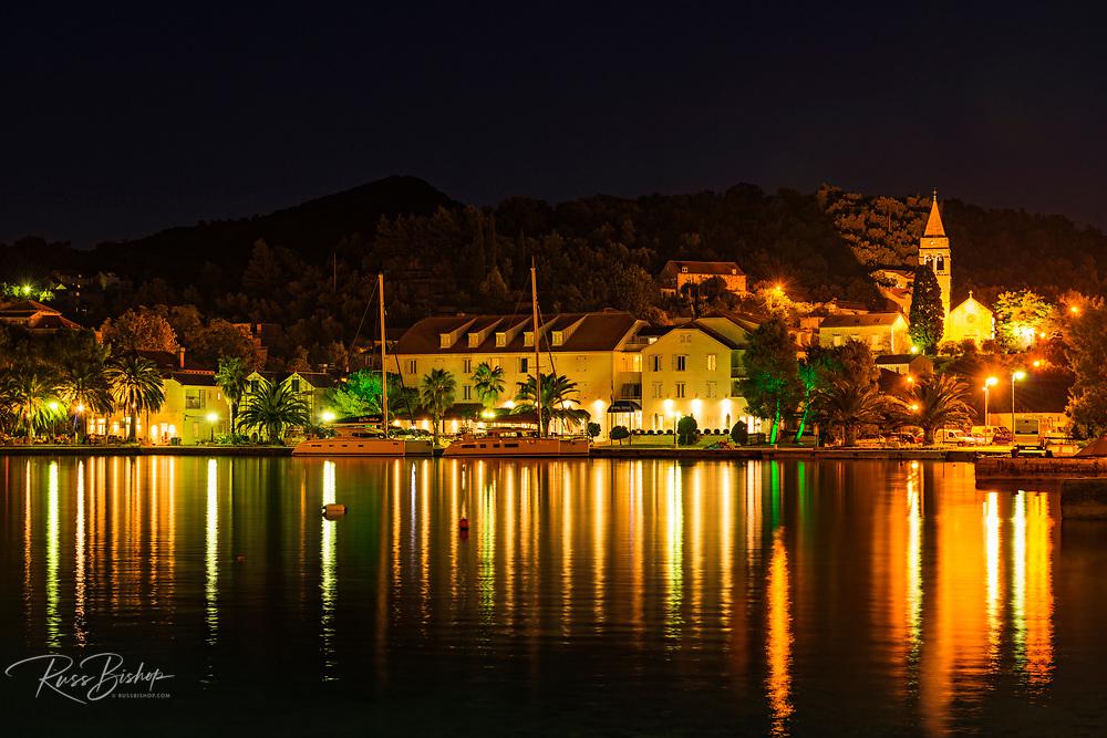 Sipanska Luka at night, Sipan Island, Dalmatian Coast, Croatia