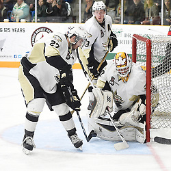 TRENTON, ON - Apr 22, 2016 -  Ontario Junior Hockey League game action between the against the Trenton Golden Hawks and the Georgetown Raiders. Game 5 of the Buckland Cup Championship Series, at the Duncan Memorial Gardens in Trenton, Ontario. Danny Hanlon #27 of the Trenton Golden Hawks blocks the shot during the third period.<br /> (Photo by Andy Corneau / OJHL Images)