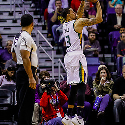 Feb 8, 2017; New Orleans, LA, USA; Utah Jazz guard George Hill (3) shoots against the New Orleans Pelicans during the first quarter of a game at the Smoothie King Center. Mandatory Credit: Derick E. Hingle-USA TODAY Sports