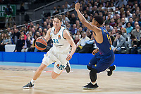 Real Madrid Jaycee Carroll and FC Barcelona Lassa Phil Pressey during Turkish Airlines Euroleague match between Real Madrid and FC Barcelona Lassa at Wizink Center in Madrid, Spain. December 14, 2017. (ALTERPHOTOS/Borja B.Hojas)