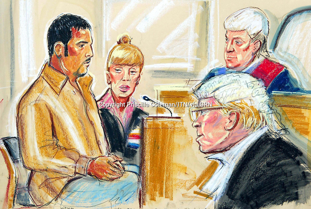 ©PRISCILLA COLEMAN ITN  13.09.05.SUPPLIED BY PHOTONEWS SERVICE LTD.PIC SHOWS: COURT ARTIST IMPRESSION OF ATHER FINJAN SADDOM ABDULLAH  AT THE COURT MARTIAL HEARING AT COLCHESTER TODAY
