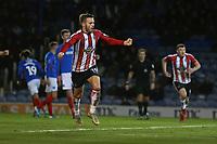Football - 2019 / 2020 Emirates FA Cup - Second Round: Portsmouth vs. Altrincham<br /> <br /> Josh Hancock of Altrincham celebrates his goal at Fratton Park <br /> <br /> COLORSPORT/SHAUN BOGGUST