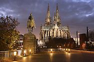 DEU, Germany, Cologne, view to the cathedral, equestrian statue at the Hohenzollern bridge.....DEU, Deutschland, Koeln, Blick zum Dom, Reiterstatue an der Hohenzollernbruecke...