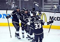 Ishockey , 13 June 2014 The Kings Celebrate After A Goal by Los Angeles Kings Right Wing Justin Williams 14  for their First Goal of The Game in The First Period during Game 5 of The Stanley Cup Final between The New York Rangers and The Los Angeles Kings AT Staples Center in Los Angeles Approx NHL Ice hockey men USA Jun 13 Stanley Cup Final Rangers AT Kings Game 5 <br />