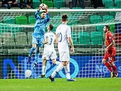 Stole Dimitrievski of Macedonia and Darko Velkoski of Macedonia vs Andraž Šporar of Slovenia and Miha Zajc of Slovenia during football match between National teams of Slovenia and North Macedonia in Group G of UEFA Euro 2020 qualifications, on March 24, 2019 in SRC Stozice, Ljubljana, Slovenia.  Photo by Matic Ritonja / Sportida