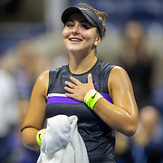 2019 US Open Tennis Tournament- Day Eleven.  Bianca Andreescu of Canada  reacts during her on court interview after her victory against Belinda Bencic of Switzerland in the Women's Singles Semi-Finals match on Arthur Ashe Stadium during the 2019 US Open Tennis Tournament at the USTA Billie Jean King National Tennis Center on September 5th, 2019 in Flushing, Queens, New York City.  (Photo by Tim Clayton/Corbis via Getty Images)