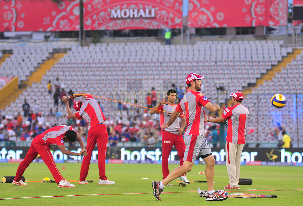 Kings XI Punjab player during warmup session before match 27 of the Pepsi IPL 2015 (Indian Premier League) between The Kings XI Punjab and The Sunrisers Hyderabad held at the Punjab Cricket Association Stadium in Mohali, India on the 27th April 2015.<br /> <br /> Photo by:  Arjun Panwar / SPORTZPICS / IPL