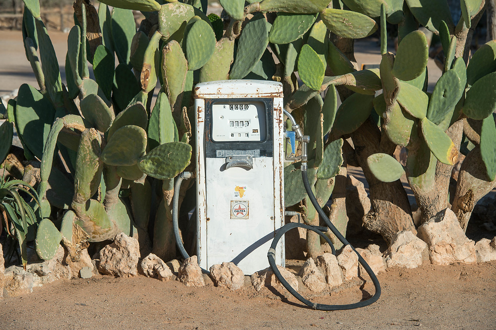 An antique gas pump is situated in front of cacti plants in Solitaire, Namibia.