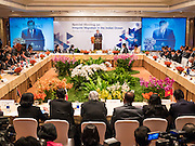 "29 MAY 2015 - BANGKOK, THAILAND: H.E. General TANASAK PATIMAPRAGORN, Deputy Prime Minister and Minister of Foreign Affairs of Thailand, makes the opening comments at the ""Special Meeting on Irregular Migration in the Indian Ocean."" Thailand organized and hosted the meeting at the Anantara Siam Hotel in Bangkok. The meeting brought together representatives from the 5 countries impacted by the boat people exodus: Thailand, Malaysia and Indonesia, which have all received boat people, and Myanmar (Burma) and Bangladesh, where they are coming from. Non-governmental organizations, like the International Organization for Migration (IOM) and UN High Commissioner for Refugees (UNHCR) as well as countries responding to the crisis, like the United States, also attended the meeting. A total of 22 organizations attended the one day conference.      PHOTO BY JACK KURTZ"