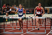 AMHERST, MA - MAY 3: From left, Brittany Green of the University of Massachusetts Amherst, Kita Alvares of St. Louis University and Anna Simone of Duquesne University competes in the women's 100 meter hurdles during Day 1 of the Atlantic 10 Outdoor Track and Field Championships at the University of Massachusetts Amherst Track and Field Complex on May 3, 2014 in Amherst, Massachusetts. (Photo by Daniel Petty/Atlantic 10)