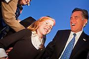 06 DECEMBER 2011 - PARADISE VALLEY, AZ: Addy Davis (CQ RIGHT) 8, from Phoenix, talks to Presidential hopeful Mitt Romney at Hermosa Inn Tuesday. Former Vice President Dan Quayle endorsed Republic Presidential hopeful Mitt Romney at the Hermosa Inn in Paradise Valley Tuesday.    PHOTO BY JACK KURTZ