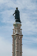 Statue of Afonso de Albuquerque, symbolically standing on a stack of weapons. Belem, Lisbon, Portugal