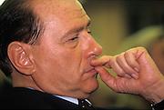 Silvio Berlusconi, President of Forza Italia polical party, follows a speache at Young Entrepreneurs of Confindustria (employer's association) convention in Santa Margherita, June 6, 1998. © Carlo Cerchioli