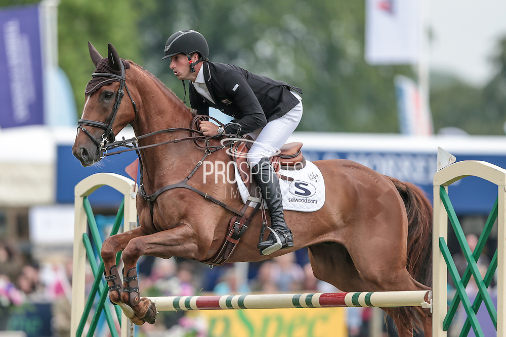 Bango ridden by Tim Price (New Zealand) competing in the show jumping at Bramham International Horse Trials 2016 at  at Bramham Park, Bramham, United Kingdom on 12 June 2016. Photo by Mark P Doherty.