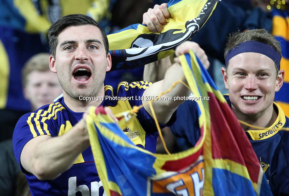 Highlanders fans during the Super Rugby Final, Hurricanes v Highlanders. Westpac Stadium, Wellington, New Zealand. 4 July 2015. Copyright Photo.: Grant Down / www.photosport.nz