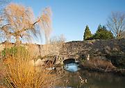 Historic Abbot's bridge spanning River Lark, Bury St Edmunds, Suffolk, England