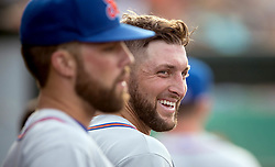 July 7, 2017 - Jupiter, Florida, U.S. - St. Lucie Met Tim Tebow cracks a smile during game against the Jupiter Hammerheads after getting a hit in the second inning at Roger Dean Stadium in Jupiter, Florida on July 7, 2017. (Credit Image: © Allen Eyestone/The Palm Beach Post via ZUMA Wire)