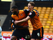 Ethan Ebanks-Landell celebrates scoring with Dave Edwards during the Sky Bet Championship match between Wolverhampton Wanderers and Millwall at Molineux, Wolverhampton, England on 2 May 2015. Photo by Alan Franklin.