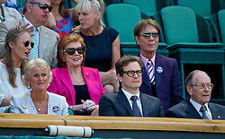 LONDON, ENGLAND - Thursday, July 3, 2014: Cilla Black, Colin Firth and Cliff Richard in the Royal Box during the Ladies' Singles Semi-Final match on day ten of the Wimbledon Lawn Tennis Championships at the All England Lawn Tennis and Croquet Club. (Pic by David Rawcliffe/Propaganda)
