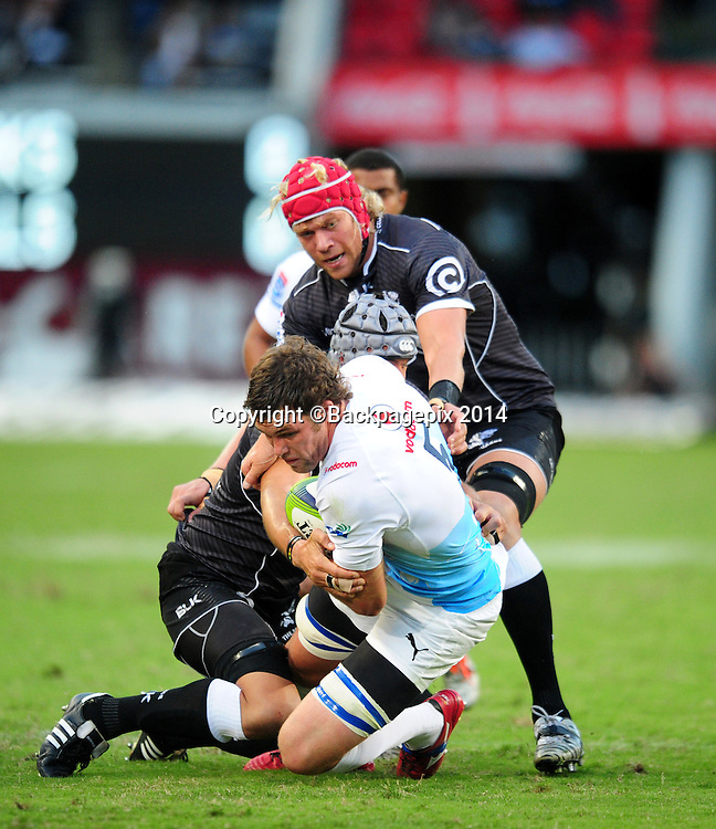 Grant Hattingh of Bulls battles Marco Wentzel of the Sharks during the 2015 Super Rugby match between Sharks and Bulls at the Kings Park Stadium in Durban on the 18th  of April 2015<br /> <br /> &copy;Sabelo Mngoma/BackpagePix