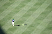 LOS ANGELES, CA - AUGUST 22:  Overhead general view of Andre Ethier #16 of the Los Angeles Dodgers in the outfield during batting practice before the Los Angeles Dodgers game against the New York Mets at Dodger Stadium on Friday, August 22, 2014 in Los Angeles, California. The Dodgers won the game 6-2. (Photo by Paul Spinelli/MLB Photos via Getty Images) *** Local Caption *** Andre Ethier