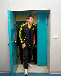 NAPELS, ITALY - Wednesday, October 20, 2010: Liverpool's Jamie Carragher arrives for a press conference ahead of the UEFA Europa League Group K match against SSC Napoli at the Stadio San Paolo. (Pic by: David Rawcliffe/Propaganda)