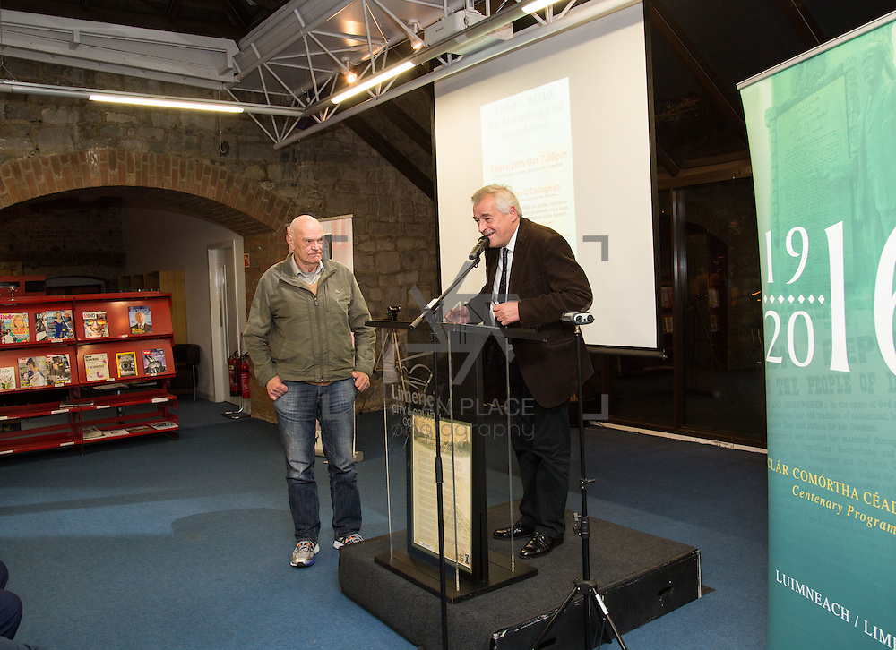 20.10.2016                 <br />  Launch of 1916-2016 Anthology of Reactions by Dr. John O&rsquo;Callaghan, Limerick City Library.<br /> This anthology is part of the Ireland 2016 year of events that feed into the Ireland 2016 Centenary Programme. It is a book of historical and literary reaction, a compilation of articles, essays, poems, stories and illustrations from writers and artists of varying opinion and hue.<br /> <br /> Pictured at the event were Eric Lynch and John Liddy, Editor. Picture: Alan Place